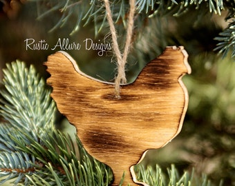 Custom handmade burnt wood Chicken ornaments - Set of 3