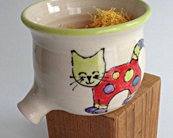 Sponge Caddy, Sponge Holder, Sink Pot, Sponge Rest, Pottery Sponge Dish, Funny Cat Design, Red Cat, Porcelain Sponge Holder, Ready To Ship