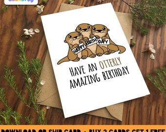 OTTERLY AMAZING BIRTHDAY Greeting Card Love birthday Boyfriend Girlfriend Print Anniversary Friend Cute Animal Pun Food Couple valentines