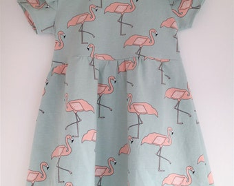 Flamingo dress in mint and pink with short sleeves, made from organic cotton jersey knit (sizes 0-5/6)