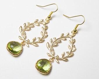 Grecian earrings, Green laurel earrings, gold and green earrings, olive green earrings, green bridesmaids earrings, prom earrings.