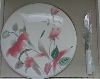 Mikasa Cheese Set, Plate with Knife, Silk Flower Design, Vintage Dining and Serving