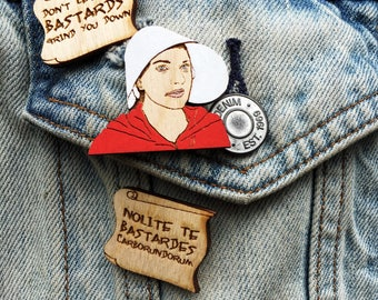 Handmaid's Tale Hand-Painted Pin or Magnet Set