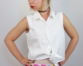 S. OLIVER Vintage 90's Minimalist Tie Front Crop Top Vest