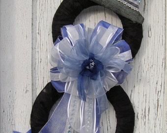 Winter Blues Snowman Wreath