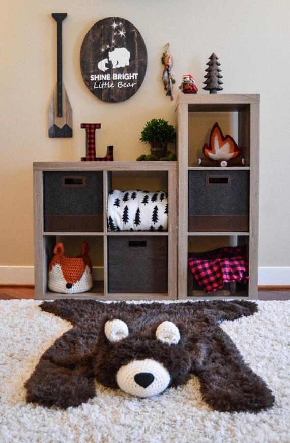 Nursery Rug / Large Size Bear Rug / woodland nursery / Baby
