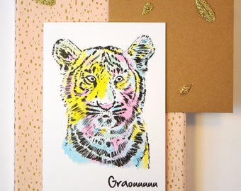 Tiger print greeting card