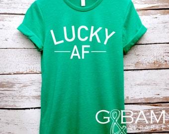 Lucky AF Shirt / Boyfriend Tee / St. Patrick's day shirt /  Green Shirt / Lucky Clover Tee /