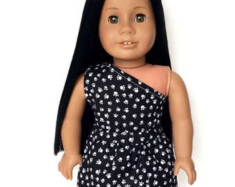 One Shoulder Sleeveless Top, Paw Print, Black, White, Spring, Summer, American Doll Clothes, 18 inch Doll Clothes