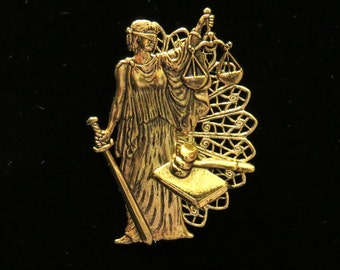 Attorney Pin Brooch Lawyer 24 Karat Gold Plate Councilor Lady Justice Scales Gavel PG138B