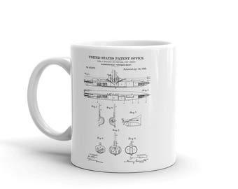 Submarine Patent Mug - Patent Mug, Old Patent Mug, Vintage Submarine, Naval Art, Sailor Gift, Submarine Mug, Navy Mug