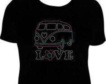 VW Bus Rhinestone T-Shirt, Volkswagon Bus T-Shirt, Hippie Bus T-Shirt