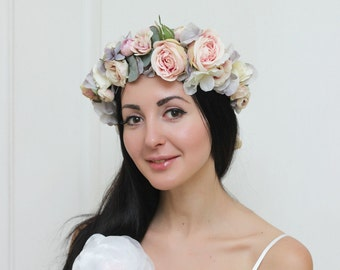 Powder pink grey flower crown Floral crown Boho wedding Romantic flower wreath Wedding halo Bridal headband Boutonniere Flower halo