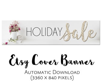 Glitter Cover Banner Gold Holiday Sale Photo Automatic Download Christmas