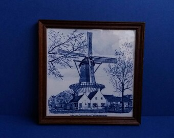 "Vintage 1960s Hand Painted Framed Delft Ceramic Tile - Molen ""Windlust"" Wassenaar Holland Windmill -"