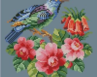 Jay vintage bird berlin woolwork cross stitch pattern Digital Format - PDF