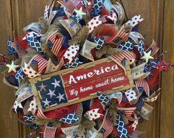 Burlap Patriotic Wreath, Patriotic Wreath, Deco Mesh Patriotic Wreath, 4th of July Wreath, Independence Day Wreath, Red White Blue Wreath