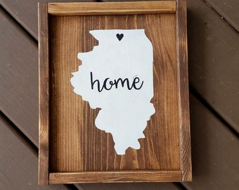 Home State Wood Sign, Wood Signs, Signs, State Signs, Rustic Signs, Rustic Wood Signs, Rustic Decor, Wall Decor, Personalized Signs, Framed