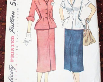 "1950's Original Vintage Sewing Pattern, 2-Piece Dress, Bust 38"", FF"