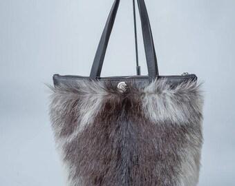 Genuine fur bag purse. Worldwide Free Shipping. Women Gray Genuine leather Handbag. Gray Everyday bag. Everyday Shoulder Bag