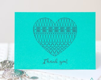 Greeting Card | Thank You Card | A6 | Heart | Aztec | Pattern | Illustration | Turquoise | Linen Envelope | Single Card