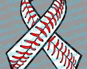Awareness Ribbon with Baseball Stitching SVG