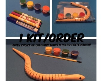 DIY Wooden Snake Painting or Coloring Kit (1 kit) Snake Party Favor - DIY Toy Craft - Zoo Favor - Reptile Party - Camping Theme - Wild
