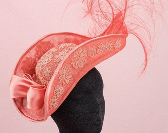 Peach Lace  Couture Millinery , Peach and Lace  Fascinator ,  Couture Millinery,  Melbourne Cup,  Spring Racing Carnival,  Racing Fashion