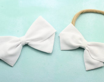 White Hair Bow - Headband and Clips for Girls - White Fabric Hair Bow
