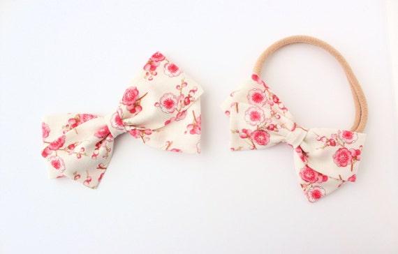 Baby Girl, Toddler, Girls Fabric Bow, Newborn, Hand tied bow, Cherry Blossom