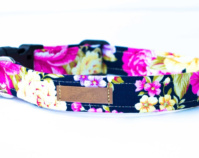 Blossom Dog Collar Floral Navy Dog Collar Vintage Girly Dog Collar Unique Girl Dog Collar Roses Flower Dog Collar Cute Feminine Dog Collar