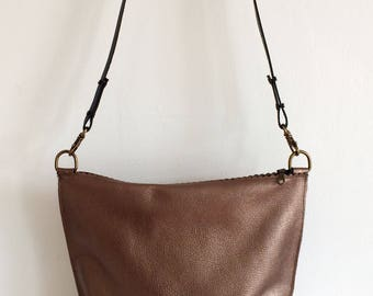 Bronze Leather Bag, Metallic Bronze Leather Cross Body Bag