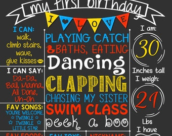 Bunting First Birthday Chalkboard Poster  | Red Blue Yellow Primary Colors Boy 1st Birthday Chalk Board  | DIGITAL FILE - PRINTABLE