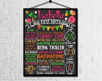 Hawaii Luau First Birthday Chalkboard Poster | Hawaiian Summer 1st birthday | girls 1st Birthday Chalk Board | DIGITAL FILE - PRINTABLE