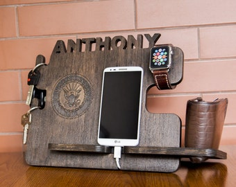 Personalized US Navy docking station - iPhone charging stand, gift idea - Mens charging dock