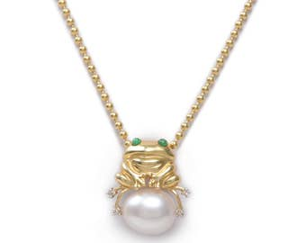 Happy Frog on a Pearl Necklace