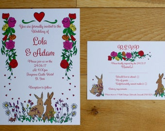 "Wedding Invitation with RSVP ""Bunny theme"" Set (SAMPLE)"