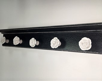 black and white wall art/necklace hanger/white rose wall decor/jewelry hanger/wall jewelry organizer/french country decor/white roses