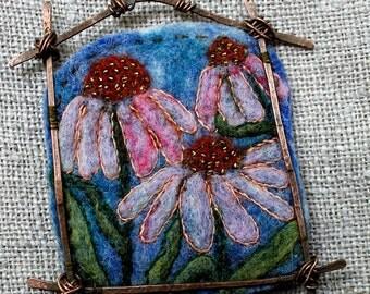 Felted pendant, Felt necklace, Felt accessory, The landscape pendant Cone flower, Unique design, Boho Necklace,  Hand-made