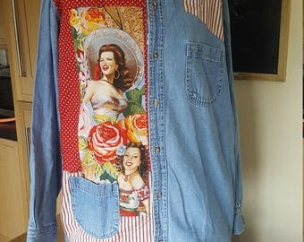 Women's Up-cycled Denim Shirt