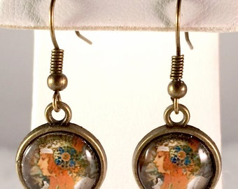 Art Nouveau Earrings - Byzantine Head - Alphonse Mucha - Antique Bronze Earrings - Medallion - Woman - Gifts for Her - Mother's Day