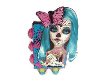 Sugar Skull ATB Artist Trading Block in Pink and Turquoise