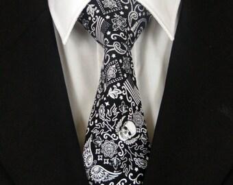 Skull Necktie, Skull Tie, Mens Necktie, Mens Tie, Black Skull Necktie, Black Skull Tie, White Skull Necktie, White Skull Tie, Father, Dad