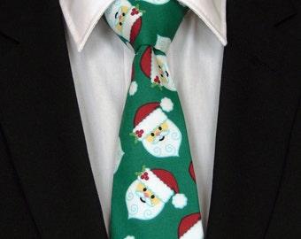 Santa Necktie, Santa Tie, Christmas Necktie, Christmas Tie, Mens Necktie, Mens Tie, Holiday Necktie, Holiday Tie, Green Necktie, Green Tie