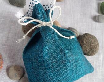Favor bag, linen fabric bag, linen bag, candy bag, blue, wedding, lace