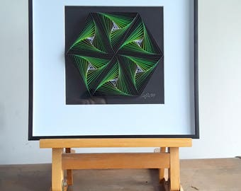 Unique Paper Wall Art Décor, Quilling Art, Paper Art, GEOMETRY – GREEN HEXAGON
