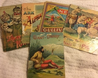 5 Antique Children's Books/Three Little pigs/Three Little Kittens/The New Gulliver/The Ark Alphabet/The Giant and Dwarf