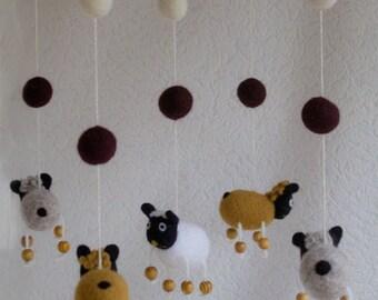 Baby Mobile - Needle Felted lamb Mobile, Nursery Decor, Baby Shower Gift