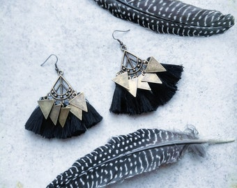 Earrings black PomPoms, love triangle, Bohemian gypsy ethnic bronze