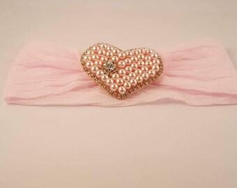 Pearl Heart Headband, Pink Lavender Red Gold Headband, Infant Pearl Headband, PhotoProp, Baby Pearl Headband